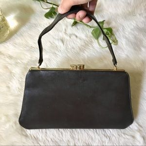 1940s Antique Leather Clutch Handbag by Normandie